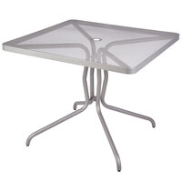 BFM Seating DVN3232TSU Nexus 32 inch Square Titanium Silver Steel Dining Table with Umbrella Hole