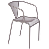 BFM Seating DV355TS Venice Beach Titanium Silver Stackable Steel Armchair