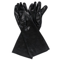 Black 18 inch PVC Coated Gloves, Pair - 12/Pack