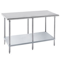 Advance Tabco GLG-3610 36 inch x 120 inch 14 Gauge Stainless Steel Work Table with Galvanized Undershelf