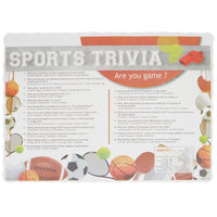 10 inch x 14 inch Sports Trivia Paper Placemat with Scalloped Edge   - 1000/Case