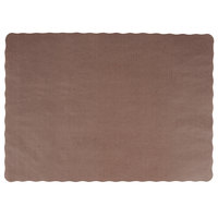 10 inch x 14 inch Brown Colored Paper Placemat with Scalloped Edge - 1000/Case