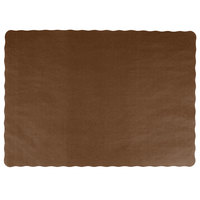 Choice 10 inch x 14 inch Brown Colored Paper Placemat with Scalloped Edge   - 1000/Case