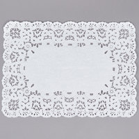 10 inch x 14 1/2 inch White French Lace Paper Placemat - 1000/Case