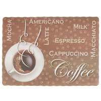 10 inch x 14 inch Coffee Themed Paper Placemat with Scalloped Edge - 1000/Case