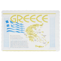 10 inch x 14 inch Greece Paper Placemat with Scalloped Edge   - 1000/Case