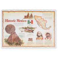 10 inch x 14 inch Historic Mexico Paper Placemat with Scalloped Edge - 1000/Case