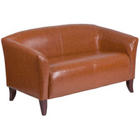 Flash Furniture 111-2-CG-GG Hercules Imperial Cognac Leather Loveseat with Wooden Feet