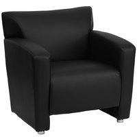 Flash Furniture 222-1-BK-GG Hercules Majesty Black Leather Chair with Aluminum Feet