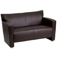 Flash Furniture 222-2-BN-GG Hercules Majesty Brown Leather Loveseat with Aluminum Feet