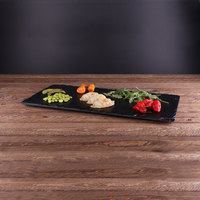 Elite Global Solutions M1020 Fo Slate Rectangular Faux Black Slate Melamine Serving Board - 20 inch x 10 inch