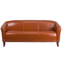 Flash Furniture 111-3-CG-GG Hercules Imperial Cognac Leather Sofa with Wooden Feet