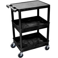 Luxor / H. Wilson STC211-B Black Three Shelf Utility Cart - 2 Tub Shelves, 24 inch x 18 inch x 36 1/2 inch