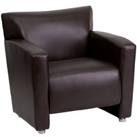 Flash Furniture 222-1-BN-GG Hercules Majesty Brown Leather Chair with Aluminum Feet