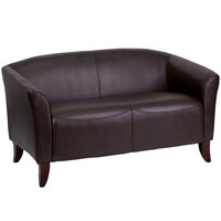 Flash Furniture 111-2-BN-GG Hercules Imperial Brown Leather Loveseat with Wooden Feet
