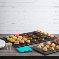 Elite Global Solutions M2415 Fo Slate Rectangular Faux Black Slate Melamine Serving Board - 24 inch x 15 inch