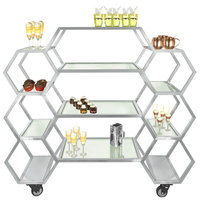 Eastern Tabletop ST1730 63 inch x 17 3/4 inch x 60 inch Honeycomb Stainless Steel Rolling Buffet with Clear Tempered Glass Shelves