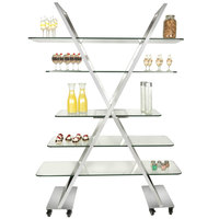 Eastern Tabletop ST1700 55 inch x 17 inch x 74 inch X-Shaped Stainless Steel Rolling Buffet with Clear Tempered Glass Shelves