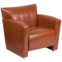 Flash Furniture 222-1-CG-GG Hercules Majesty Cognac Leather Office Chair with Aluminum Feet