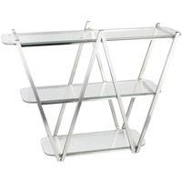 Eastern Tabletop ST1775 35 inch x 11 inch x 29 1/2 inch Stainless Steel 3 Tier W Tabletop Display Stand with Clear Glass Tempered Shelves