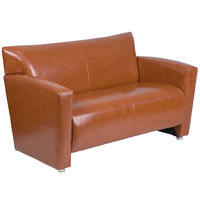 Flash Furniture 222-2-CG-GG Hercules Majesty Cognac Leather Loveseat with Aluminum Feet