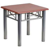 Flash Furniture JB-5-END-MAH-GG 21 inch Square Silver Steel End Table with Mahogany Laminate Top