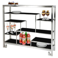 Eastern Tabletop AC1765BK 38 3/8 inch x 9 7/8 inch x 31 1/2 inch Stainless Steel Multi-Level Square Tabletop Display Stand with Black Acrylic Shelves