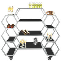 Eastern Tabletop AC1730BK 63 inch x 17 3/4 inch x 60 inch Honeycomb Stainless Steel Rolling Buffet with Black Acrylic Shelves