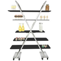 Eastern Tabletop AC1700BK 55 inch x 17 inch x 74 inch X-Shaped Stainless Steel Rolling Buffet with Black Acrylic Shelves