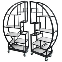 Eastern Tabletop ST1790MB 72 1/2 inch x 13 3/4 inch x 72 inch Cartwheel Xylo Black Coated Steel Rolling Buffet with Clear Glass Tempered Shelves