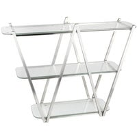 Eastern Tabletop AC1775 35 inch x 11 inch x 29 1/2 inch Stainless Steel 3 Tier W Tabletop Display Stand with Acrylic Shelves
