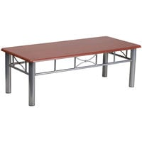 Flash Furniture JB-5-COF-MAH-GG 21 inch x 45 3/4 inch Silver Steel Coffee Table with Mahogany Laminate Top