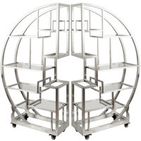 Eastern Tabletop AC1790 72 1/2 inch x 13 3/4 inch x 72 inch Cartwheel Stainless Steel Rolling Buffet Set with Clear Acrylic Shelves