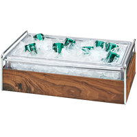 Cal-Mil 3702-12-49 Mid-Century Chrome Metal and Wood Ice Housing with Clear Plastic Pan - 14 inch x 22 inch x 7 inch