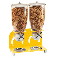 Cal-Mil 3510-2-42 7 Liter Yellow Double Canister Cereal Dispenser - 12 1/4 inch x 6 inch x 18 1/2 inch