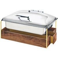 Cal-Mil 3705-46 Mid-Century Full Size Chafer with Walnut and Brass Frame