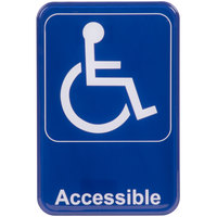 Handicap Accessible Sign - Blue and White, 9 inch x 6 inch