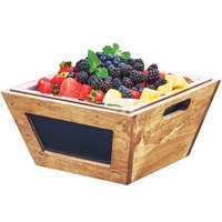 Cal-Mil 3593-12-99 Madera Reclaimed Wood Chalkboard Bowl - 12 inch x 12 inch x 6 inch