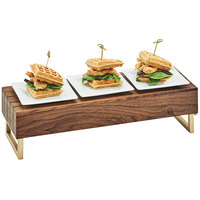 Cal-Mil 3724-46 Mid-Century 20 inch x 7 inch x 6 inch Walnut Wood and Brass Reversible Riser