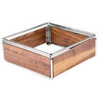 Cal-Mil 3367-49 Mid-Century Walnut Cold Concept Cooling Base with Chrome Accents - 12 inch x 12 inch x 4 1/2 inch