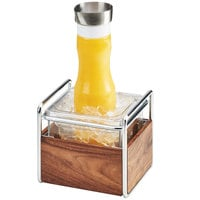 Cal-Mil 3702-6-49 Mid-Century Chrome Metal and Wood Ice Housing with Clear Plastic Pan - 7 inch x 8 inch x 7 inch