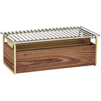 Cal-Mil 3722-46 Mid-Century 12 inch x 22 inch Chafer Alternative with Wind Guard and Walnut and Brass Frame