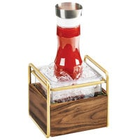 Cal-Mil 3702-6-46 Mid-Century Brass Metal and Wood Ice Housing with Clear Plastic Pan - 7 inch x 8 inch x 7 inch