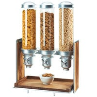 Cal-Mil 3720-49 Mid-Century 13.5 Liter Walnut and Chrome Triple Canister Cereal Dispenser - 19 1/2 inch x 12 inch x 28 1/2 inch