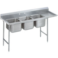 Advance Tabco T9-3-54-18R Regaline Three Compartment Stainless Steel Commercial Sink with Right Drainboard - 77 inch Long, 16 inch x 20 inch x 12 inch Compartments