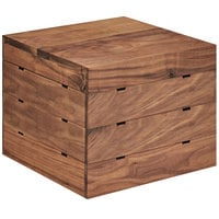 Cal-Mil 3628-10-78 Mid-Century Walnut Square Crate Riser - 12 inch x 12 inch x 10 inch