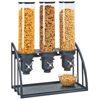 Cal-Mil 3597-3-13 Mission 4.5 Liter Black Triple Canister Cereal Dispenser - 19 1/2 inch x 10 1/2 inch x 26 inch