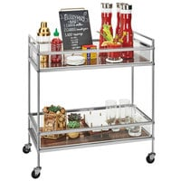 Cal-Mil 3719-49 Mid-Century Chrome Beverage Cart with 2 Walnut Shelves - 27 inch x 16 inch x 36 inch