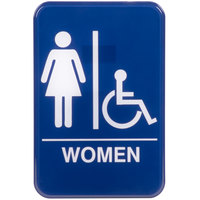 Handicap Accessible Women's Restroom Sign - Blue and White, 9 inch x 6 inch