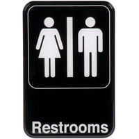 Restrooms Sign - Black and White, 9 inch x 6 inch